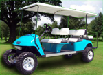 Capistrano Golf Cars Light Blue Limo Golf Car 6 Passenger Lifted